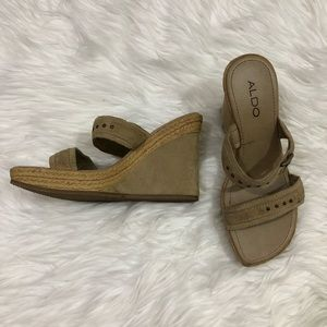 Aldo slip on open toe wedges